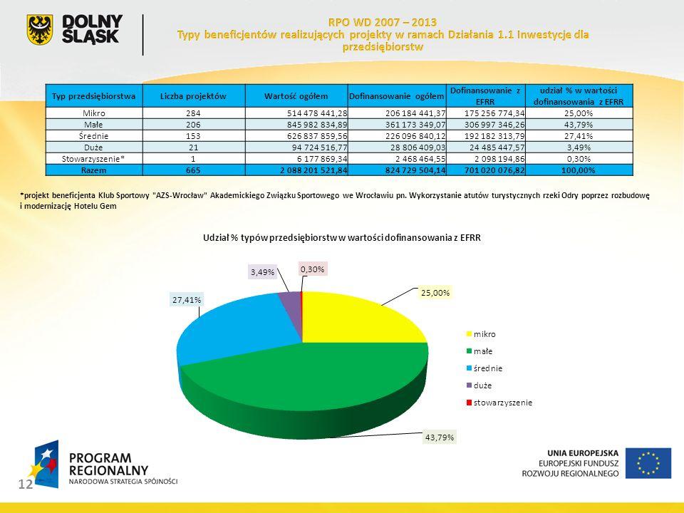 12 Typ przedsiębiorstwaLiczba projektówWartość ogółemDofinansowanie ogółem Dofinansowanie z EFRR udział % w wartości dofinansowania z EFRR Mikro284514 478 441,28206 184 441,37175 256 774,3425,00% Małe206845 982 834,89361 173 349,07306 997 346,2643,79% Średnie153626 837 859,56226 096 840,12192 182 313,7927,41% Duże2194 724 516,7728 806 409,0324 485 447,573,49% Stowarzyszenie*16 177 869,342 468 464,552 098 194,860,30% Razem6652 088 201 521,84824 729 504,14701 020 076,82100,00% *projekt beneficjenta Klub Sportowy AZS-Wrocław Akademickiego Związku Sportowego we Wrocławiu pn.
