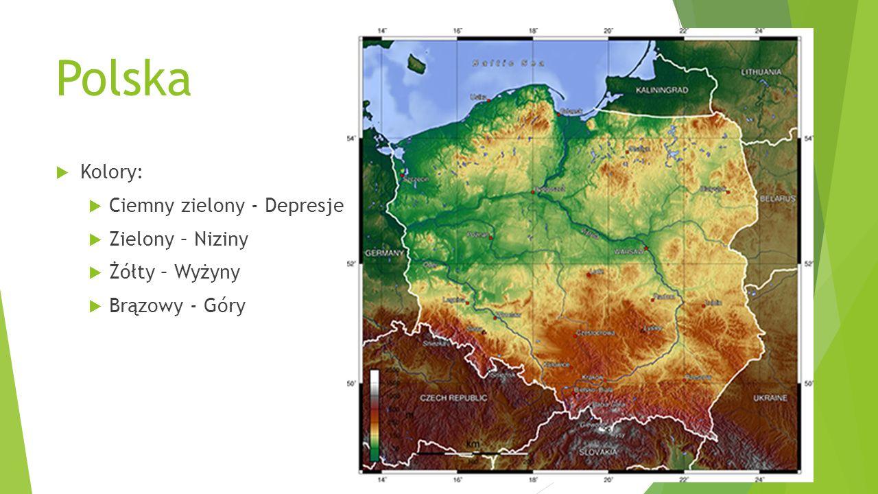 Polska  Kolory:  Ciemny zielony - Depresje  Zielony – Niziny  Żółty – Wyżyny  Brązowy - Góry