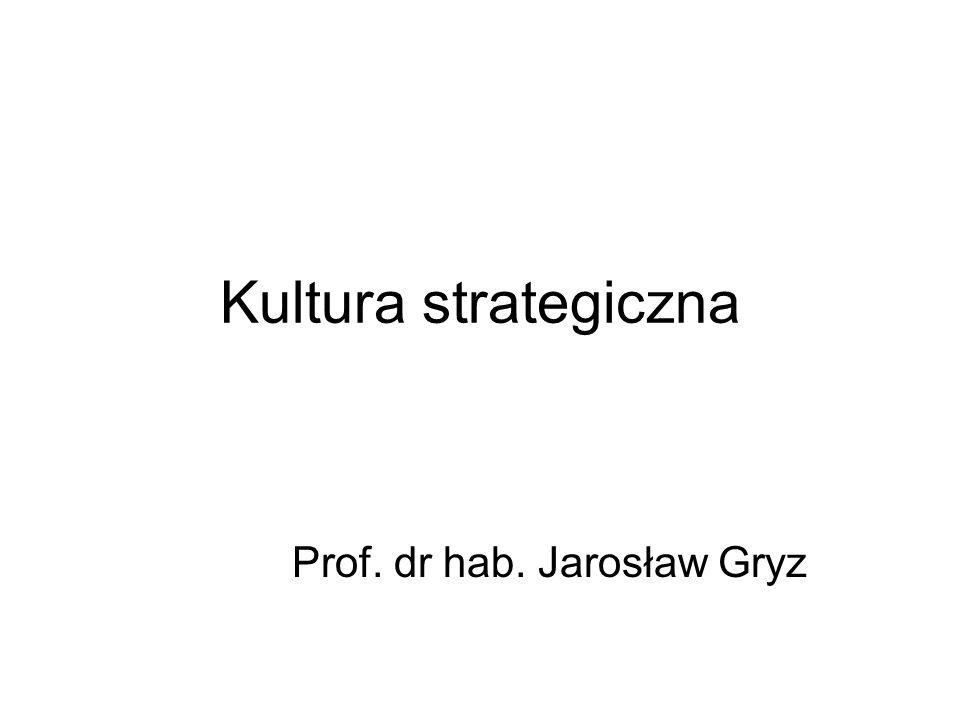 Kultura strategiczna Prof. dr hab. Jarosław Gryz