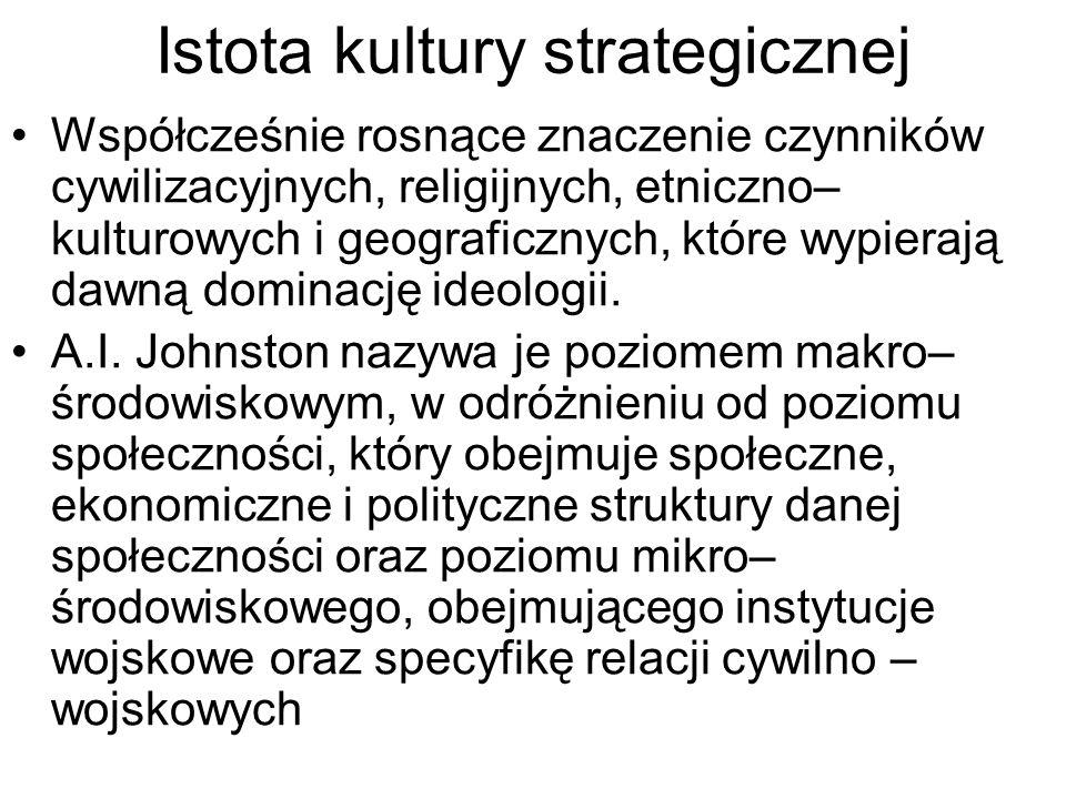 Istota kultury strategicznej Współcześnie rosnące znaczenie czynników cywilizacyjnych, religijnych, etniczno– kulturowych i geograficznych, które wypierają dawną dominację ideologii.