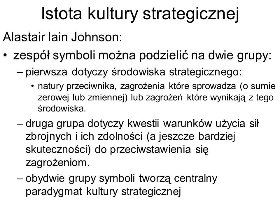 Istota kultury strategicznej Alastair Iain Johnson: zespół symboli można podzielić na dwie grupy: –pierwsza dotyczy środowiska strategicznego: natury przeciwnika, zagrożenia które sprowadza (o sumie zerowej lub zmiennej) lub zagrożeń które wynikają z tego środowiska.