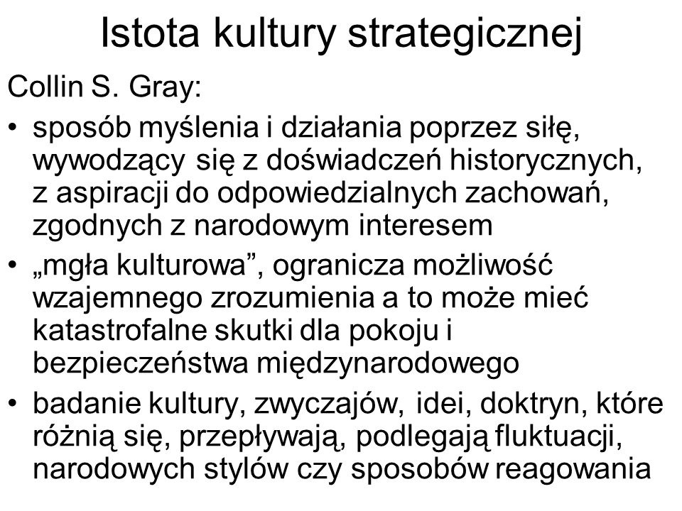 Istota kultury strategicznej Collin S.