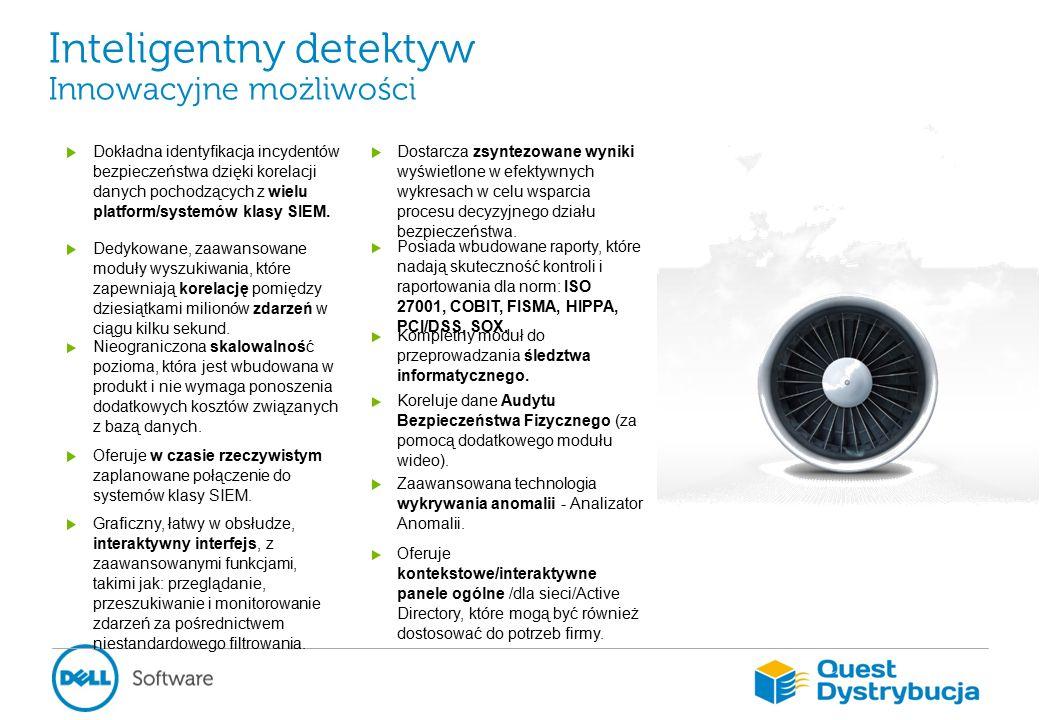Inteligentny detektyw Innowacyjne możliwości Dokładna identyfikacja incydentów bezpieczeństwa dzięki korelacji danych pochodzących z wielu platform/systemów klasy SIEM.