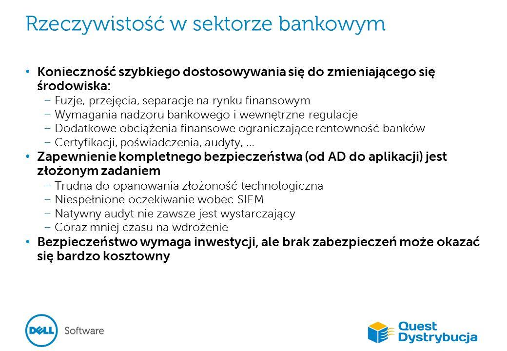Rzeczywistość w sektorze bankowym Konieczność szybkiego dostosowywania się do zmieniającego się środowiska: – Fuzje, przejęcia, separacje na rynku finansowym – Wymagania nadzoru bankowego i wewnętrzne regulacje – Dodatkowe obciążenia finansowe ograniczające rentowność banków – Certyfikacji, poświadczenia, audyty, … Zapewnienie kompletnego bezpieczeństwa (od AD do aplikacji) jest złożonym zadaniem – Trudna do opanowania złożoność technologiczna – Niespełnione oczekiwanie wobec SIEM – Natywny audyt nie zawsze jest wystarczający – Coraz mniej czasu na wdrożenie Bezpieczeństwo wymaga inwestycji, ale brak zabezpieczeń może okazać się bardzo kosztowny