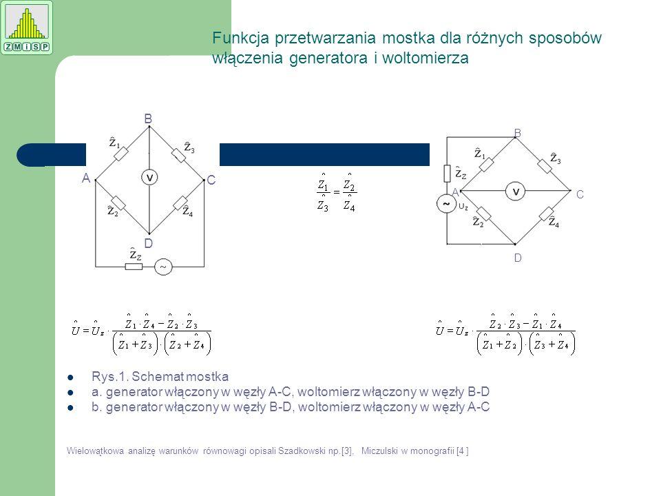Rys.1. Schemat mostka a. generator włączony w węzły A-C, woltomierz włączony w węzły B-D b. generator włączony w węzły B-D, woltomierz włączony w węzł
