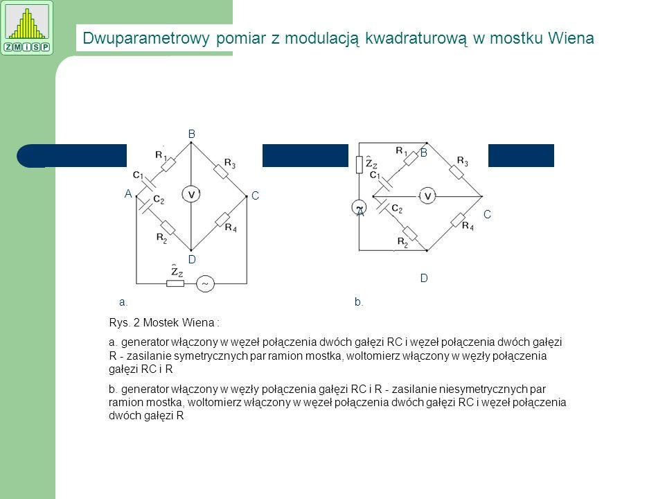 a.b. A B C D A B C D Rys. 2 Mostek Wiena : a. generator włączony w węzeł połączenia dwóch gałęzi RC i węzeł połączenia dwóch gałęzi R - zasilanie syme