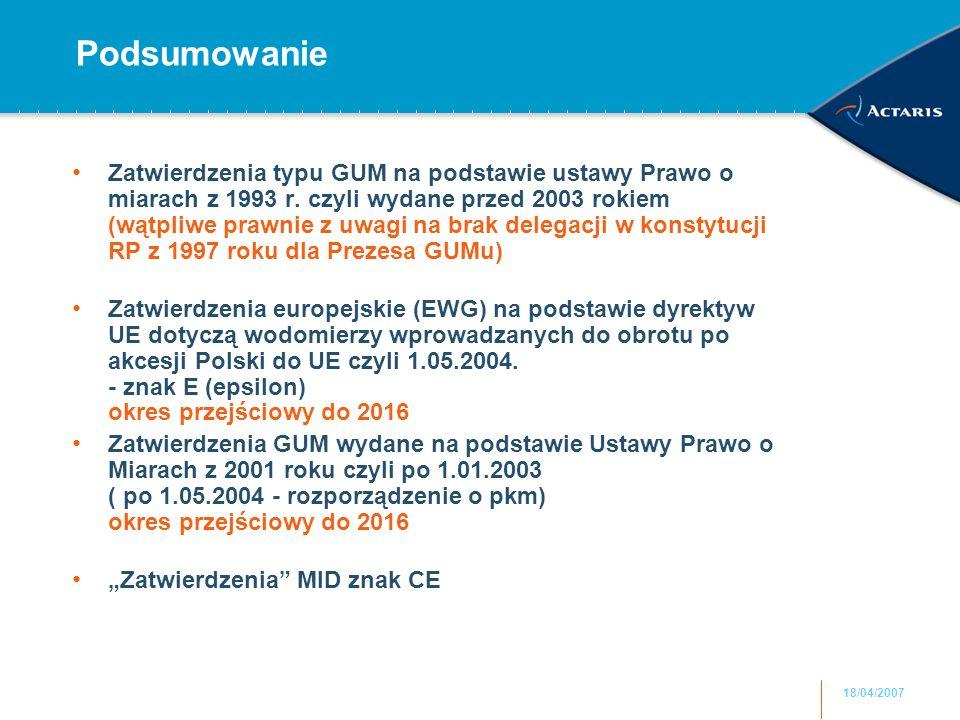 18/04/2007 Podsumowanie Zatwierdzenia typu GUM na podstawie ustawy Prawo o miarach z 1993 r.