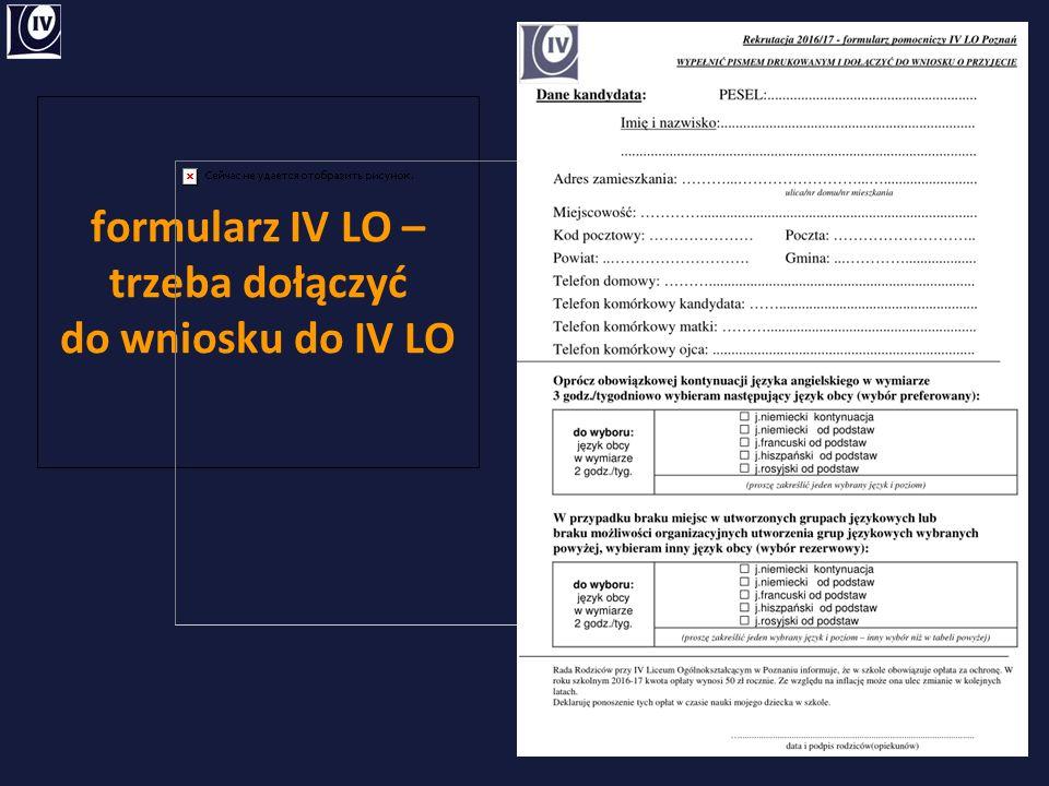 formularz IV LO – trzeba dołączyć do wniosku do IV LO