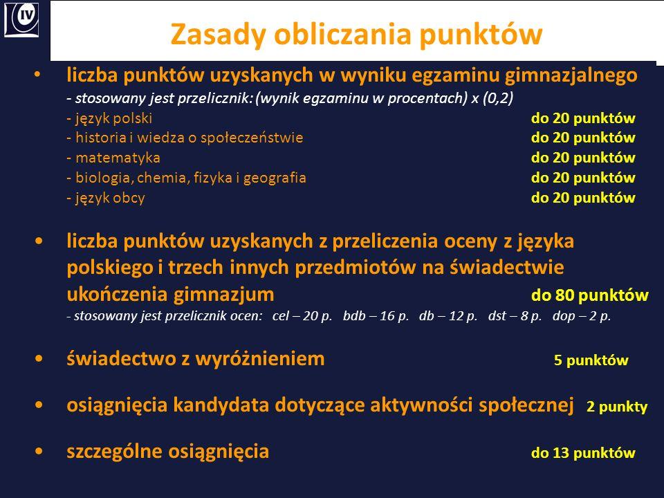 Zasady obliczania punktów liczba punktów uzyskanych w wyniku egzaminu gimnazjalnego - stosowany jest przelicznik: (wynik egzaminu w procentach) x (0,2
