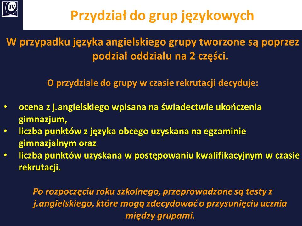 Przydział do grup językowych W przypadku języka angielskiego grupy tworzone są poprzez podział oddziału na 2 części. O przydziale do grupy w czasie re