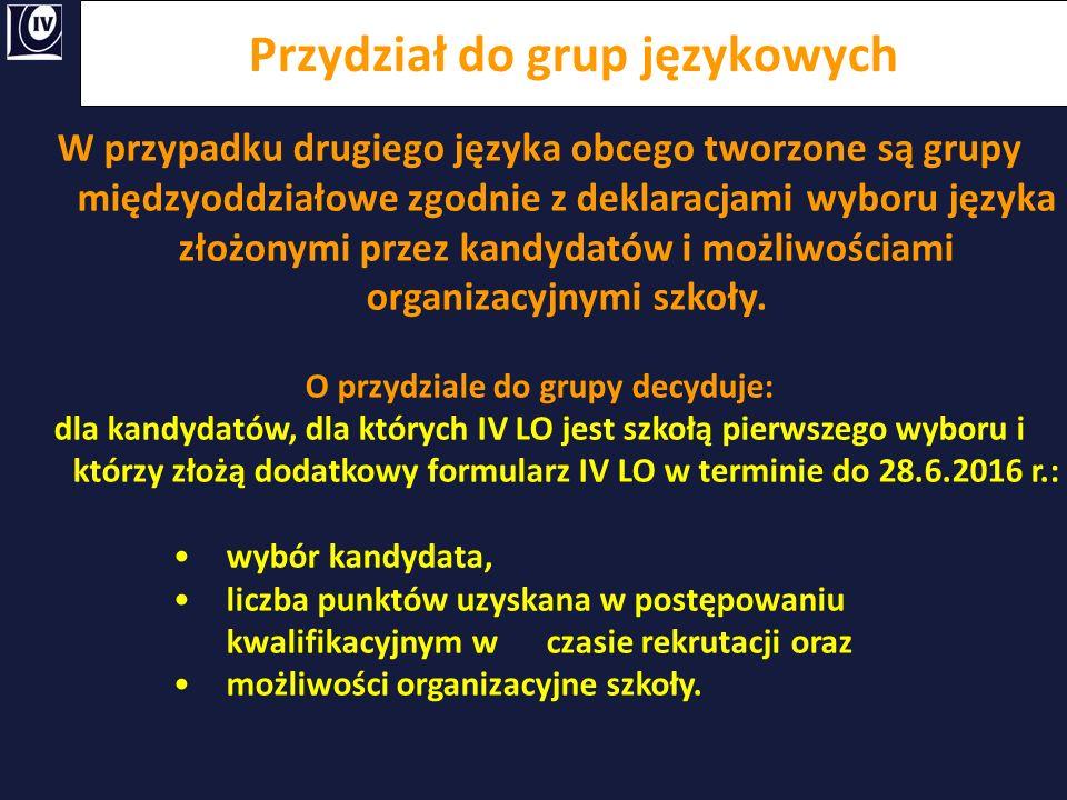 Przydział do grup językowych W przypadku drugiego języka obcego tworzone są grupy międzyoddziałowe zgodnie z deklaracjami wyboru języka złożonymi prze