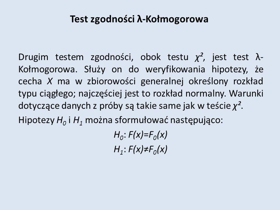 Test zgodności λ-Kołmogorowa Drugim testem zgodności, obok testu χ², jest test λ- Kołmogorowa.