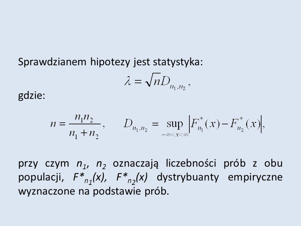 Sprawdzianem hipotezy jest statystyka: gdzie: przy czym n 1, n 2 oznaczają liczebności prób z obu populacji, F* n 1 (x), F* n 2 (x) dystrybuanty empiryczne wyznaczone na podstawie prób.