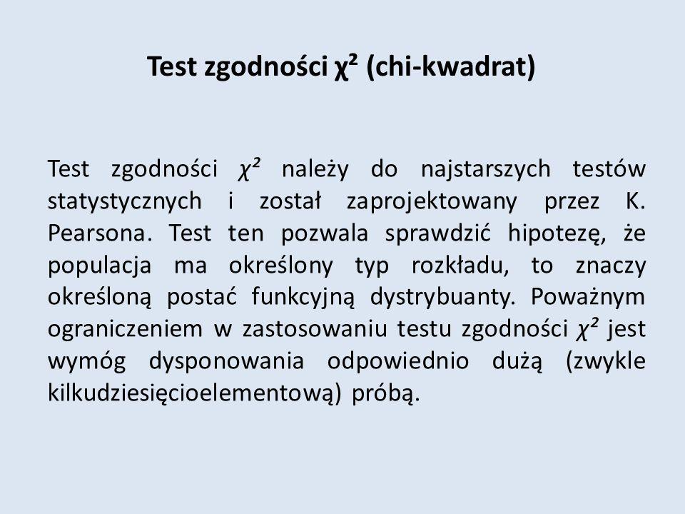 Test zgodności χ² (chi-kwadrat) Test zgodności χ² należy do najstarszych testów statystycznych i został zaprojektowany przez K.