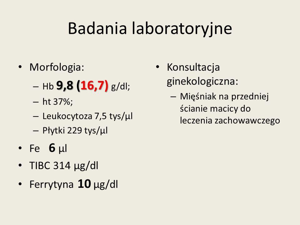 Badania laboratoryjne Morfologia: 9,8 (16,7) – Hb 9,8 (16,7) g/dl; – ht 37%; – Leukocytoza 7,5 tys/μl – Płytki 229 tys/μl Fe 6 μl TIBC 314 μg/dl Ferrytyna 10 μg/dl Konsultacja ginekologiczna: – Mięśniak na przedniej ścianie macicy do leczenia zachowawczego