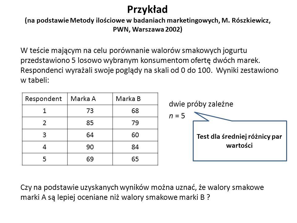 Przykład (na podstawie Metody ilościowe w badaniach marketingowych, M. Rószkiewicz, PWN, Warszawa 2002) W teście mającym na celu porównanie walorów sm
