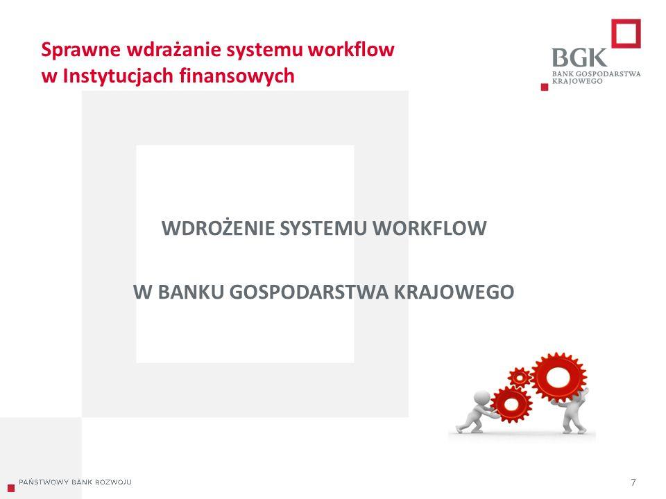 204/204/204 218/32/56 118/126/132 183/32/51 227/30/54 Sprawne wdrażanie systemu workflow w Instytucjach finansowych WDROŻENIE SYSTEMU WORKFLOW W BANKU GOSPODARSTWA KRAJOWEGO 7