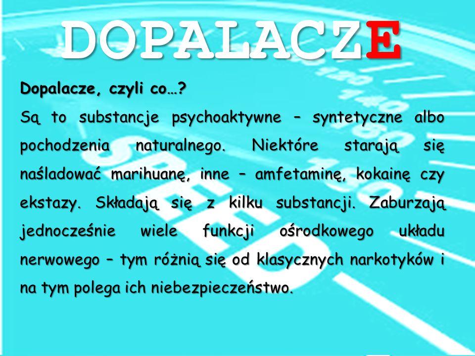 Dopalacze, czyli co…. Są to substancje psychoaktywne – syntetyczne albo pochodzenia naturalnego.