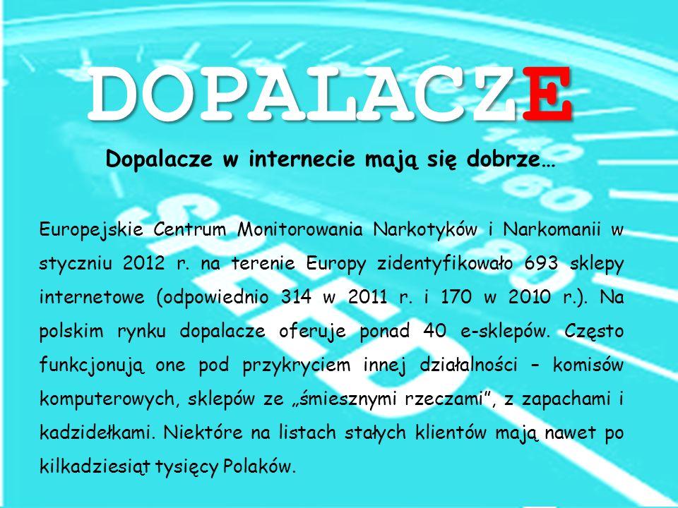 DOPALACZE Dopalacze w internecie mają się dobrze… Europejskie Centrum Monitorowania Narkotyków i Narkomanii w styczniu 2012 r.