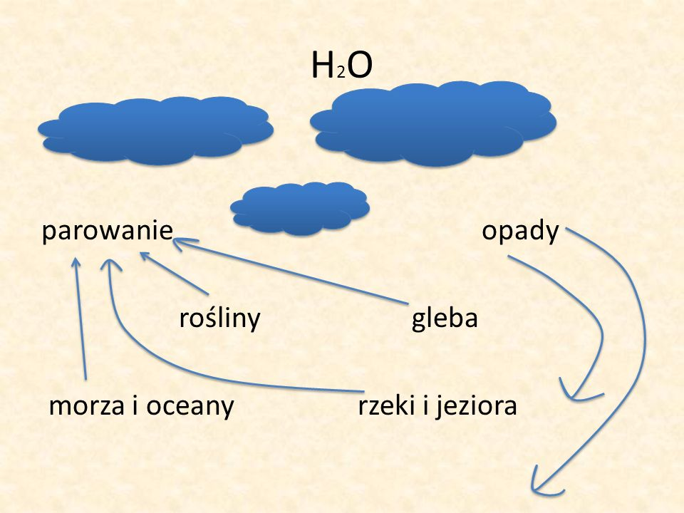 H 2 O parowanie opady rośliny gleba morza i oceany rzeki i jeziora