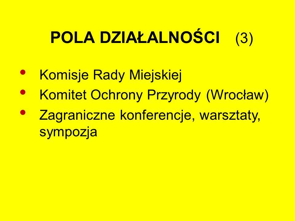 POLA DZIAŁALNOŚCI (3) Komisje Rady Miejskiej Komitet Ochrony Przyrody (Wrocław) Zagraniczne konferencje, warsztaty, sympozja