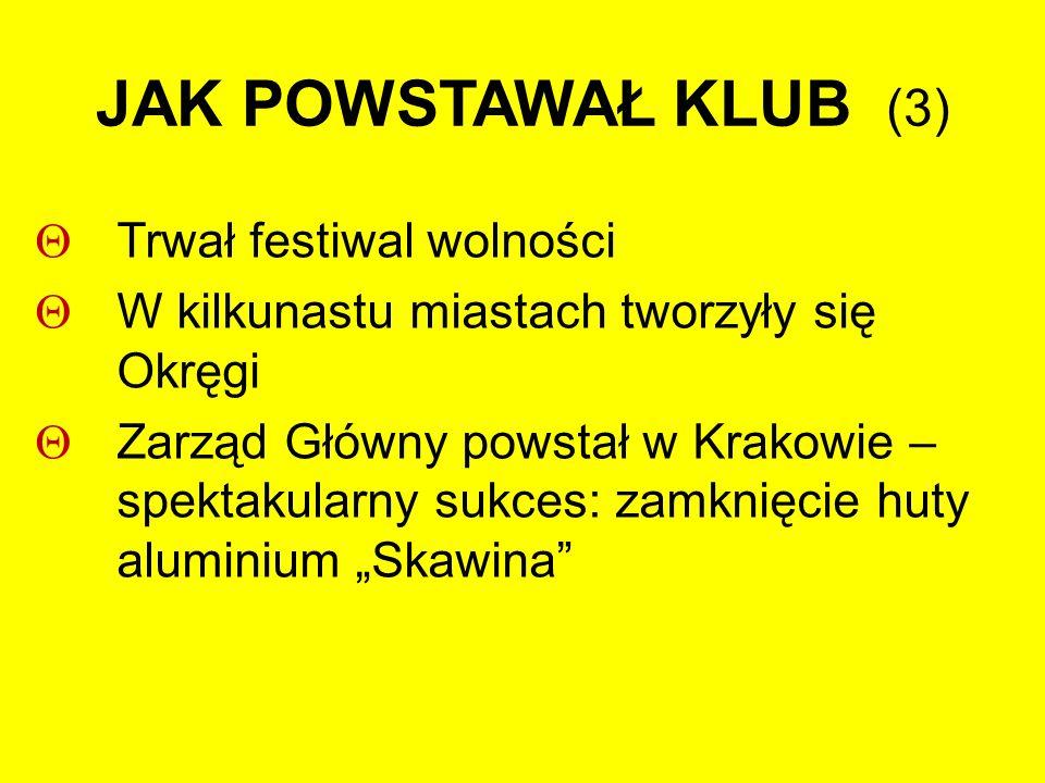 """JAK POWSTAWAŁ KLUB (3)  Trwał festiwal wolności  W kilkunastu miastach tworzyły się Okręgi  Zarząd Główny powstał w Krakowie – spektakularny sukces: zamknięcie huty aluminium """"Skawina"""