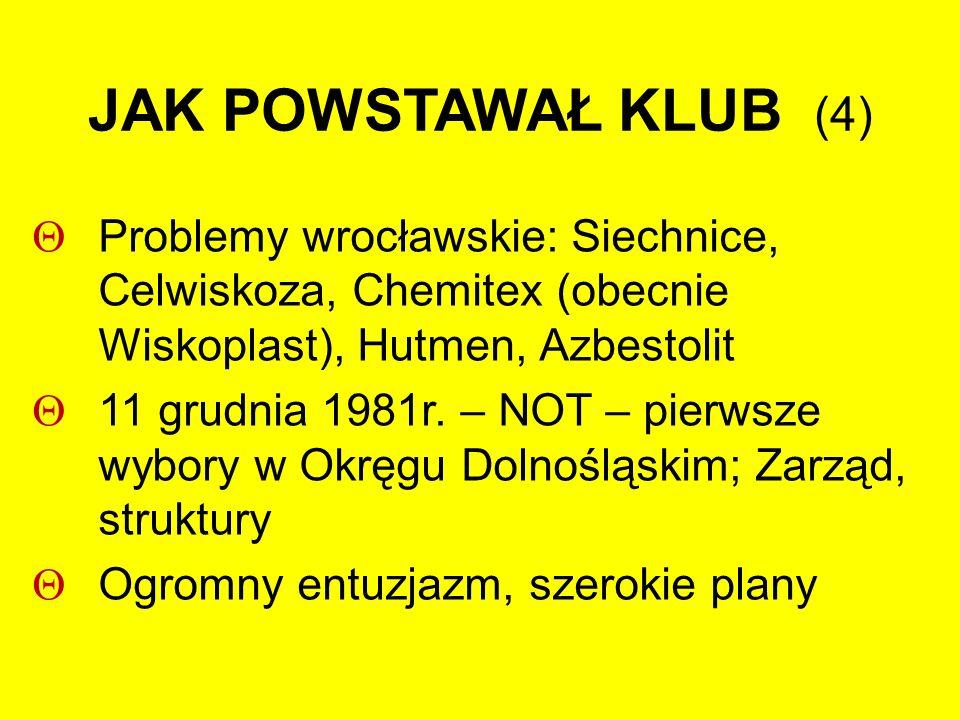 STAN WOJENNY 13 grudnia 1981 – wszystko wyglądało inaczej Jawna działalność niemożliwa (obowiązywały nawet pozwolenia na zebrania) Część (mała) wybrała działalność podziemną Nie udało się włączenie Klubu do PRON-u