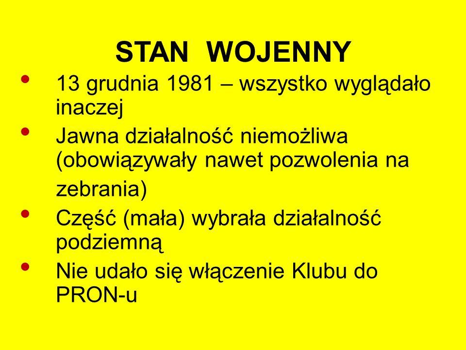 """STAN """"POWOJENNY (1)  Po zniesieniu stanu wojennego (22 lipca 1983r.) więcej swobód, ale nadal inwigilacja  Przemoc nie rozwiązała problemów  Świadomość zagrożeń mobilizowała do działania"""