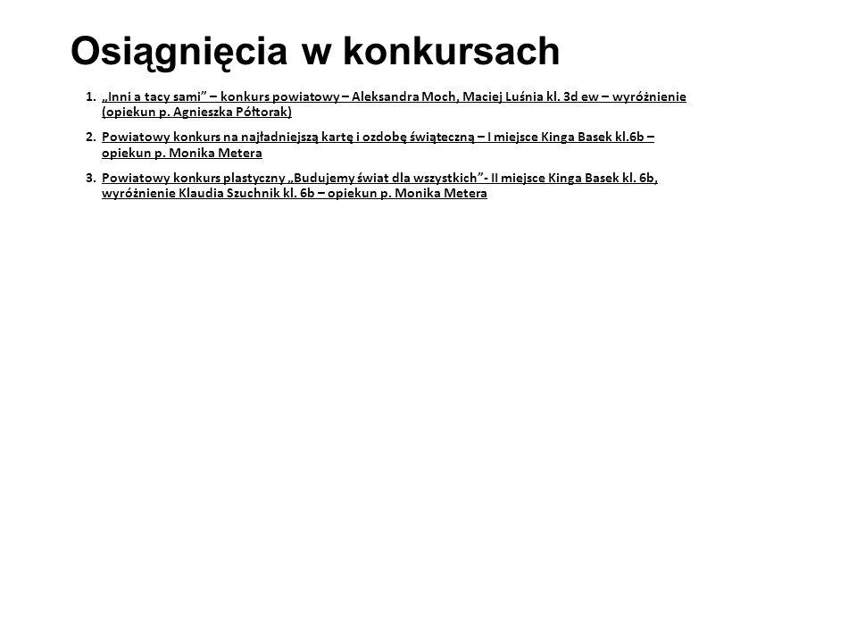 """Osiągnięcia w konkursach 1.""""Inni a tacy sami – konkurs powiatowy – Aleksandra Moch, Maciej Luśnia kl."""