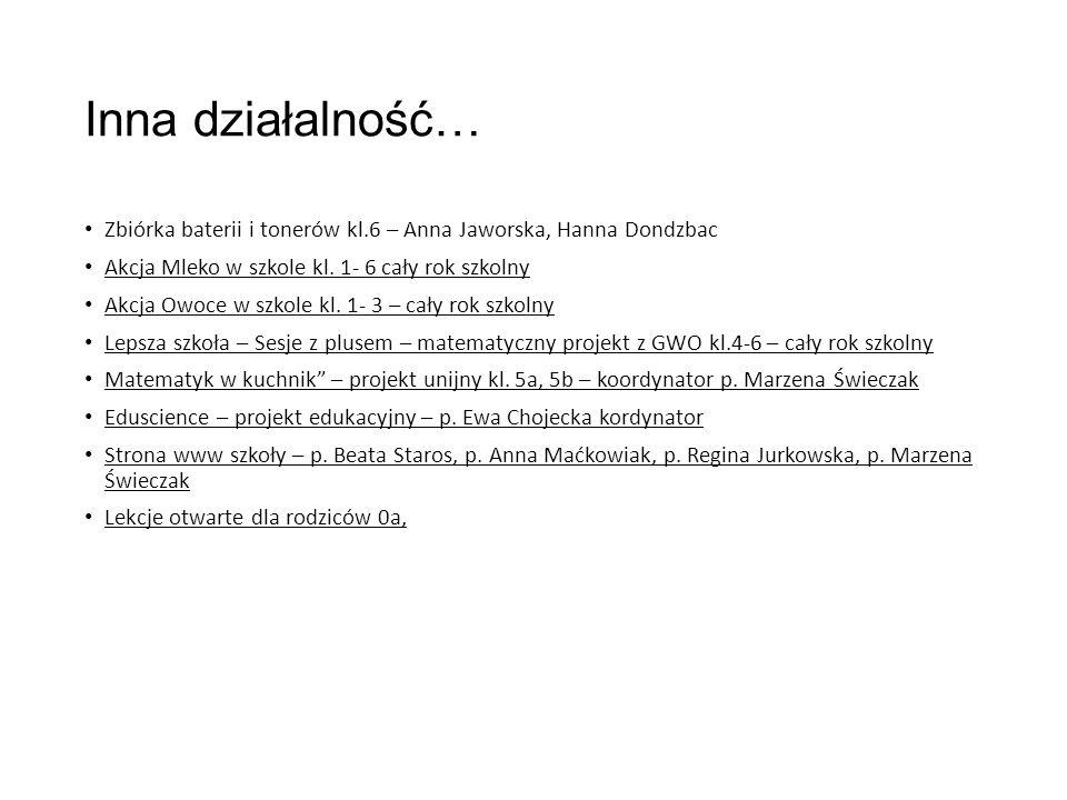 Inna działalność… Zbiórka baterii i tonerów kl.6 – Anna Jaworska, Hanna Dondzbac Akcja Mleko w szkole kl.
