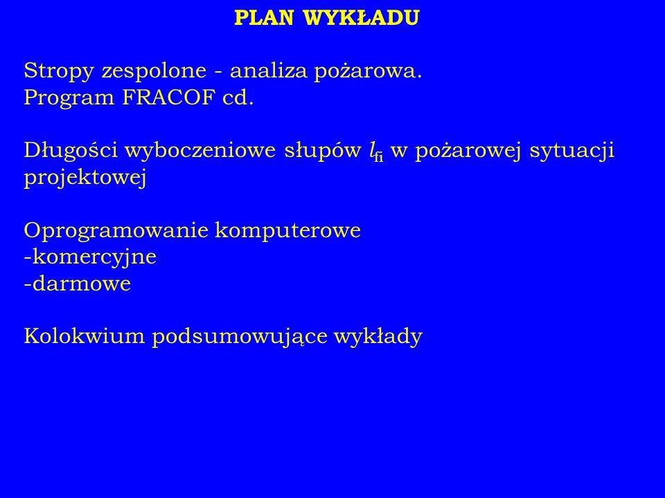 PLAN WYKŁADU Stropy zespolone - analiza pożarowa. Program FRACOF cd.