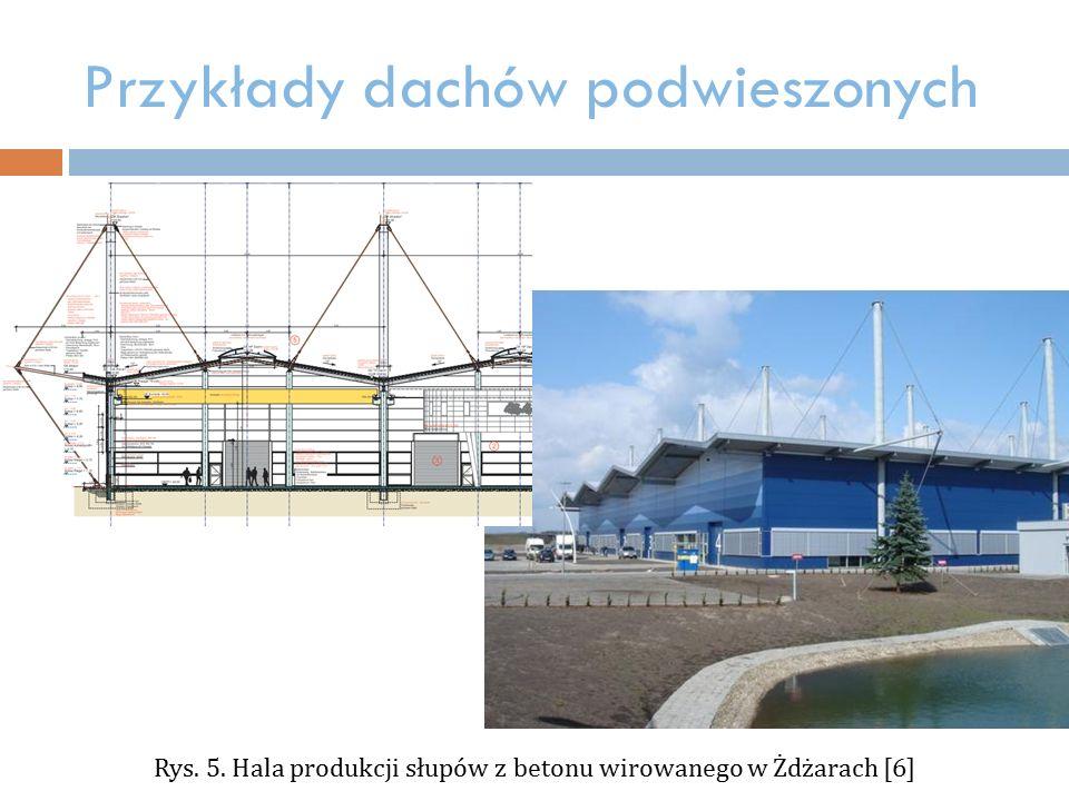 Przykłady dachów podwieszonych Rys. 5. Hala produkcji słupów z betonu wirowanego w Żdżarach [6]