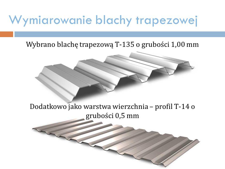 Wymiarowanie blachy trapezowej Wybrano blachę trapezową T-135 o grubości 1,00 mm Dodatkowo jako warstwa wierzchnia – profil T-14 o grubości 0,5 mm