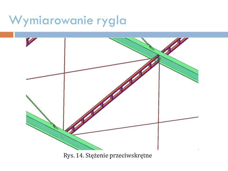 Wymiarowanie rygla Rys. 14. Stężenie przeciwskrętne