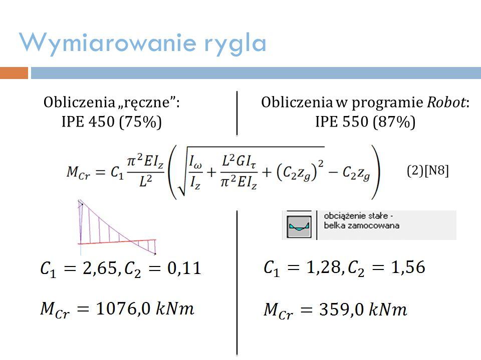 """Wymiarowanie rygla Obliczenia """"ręczne : IPE 450 (75%) (2)[N8] Obliczenia w programie Robot: IPE 550 (87%)"""