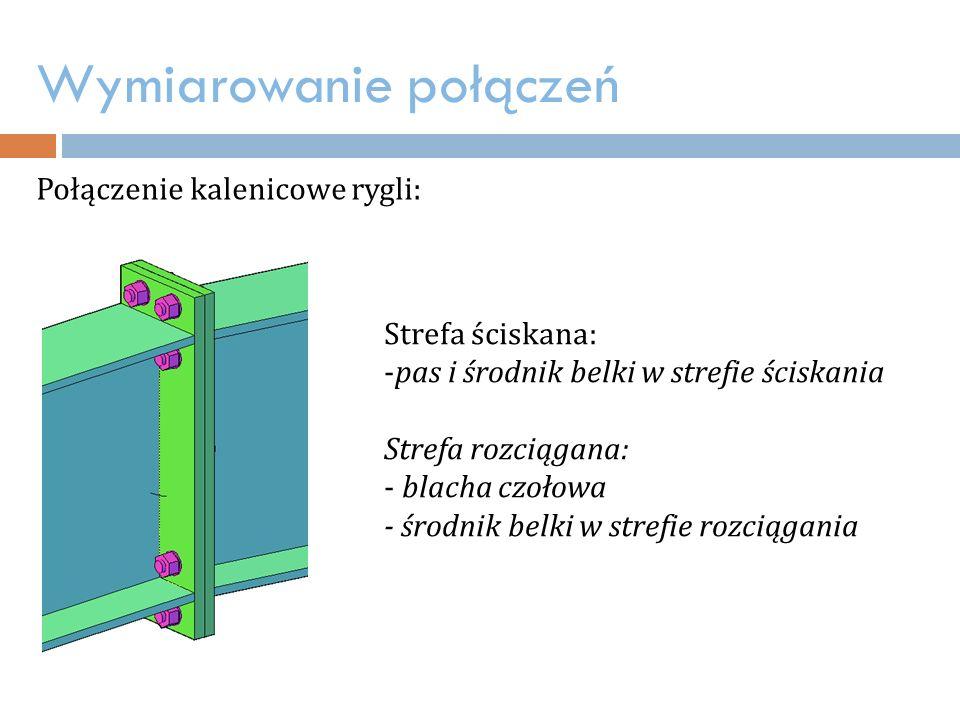 Wymiarowanie połączeń Połączenie kalenicowe rygli: Strefa ściskana: -pas i środnik belki w strefie ściskania Strefa rozciągana: - blacha czołowa - środnik belki w strefie rozciągania