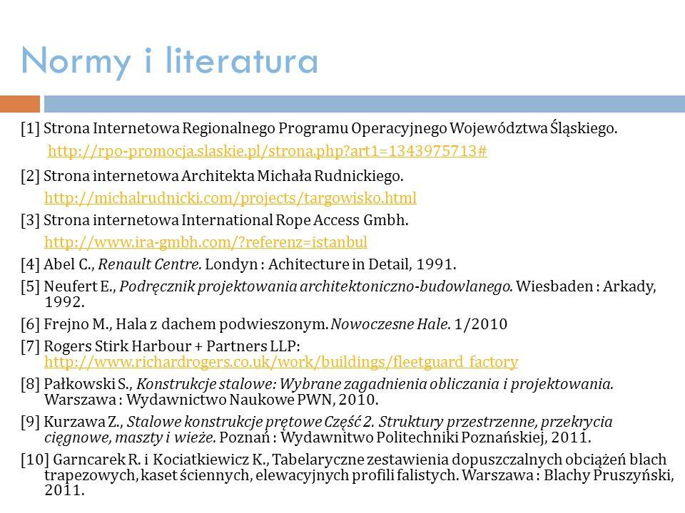 Normy i literatura [1] Strona Internetowa Regionalnego Programu Operacyjnego Województwa Śląskiego.
