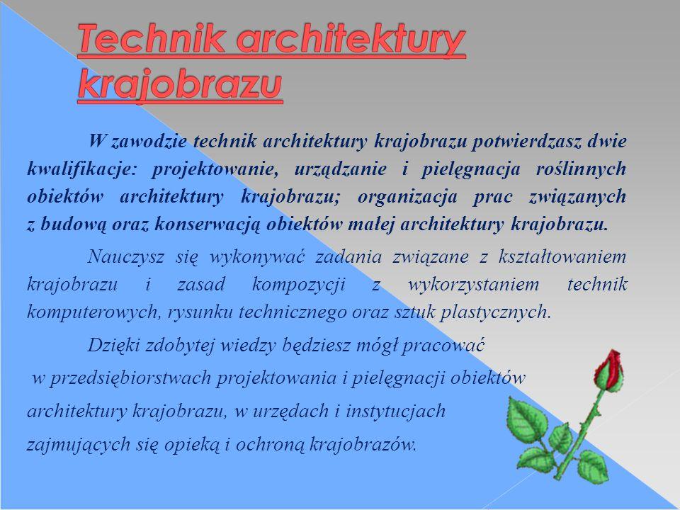 W zawodzie technik architektury krajobrazu potwierdzasz dwie kwalifikacje: projektowanie, urządzanie i pielęgnacja roślinnych obiektów architektury krajobrazu; organizacja prac związanych z budową oraz konserwacją obiektów małej architektury krajobrazu.
