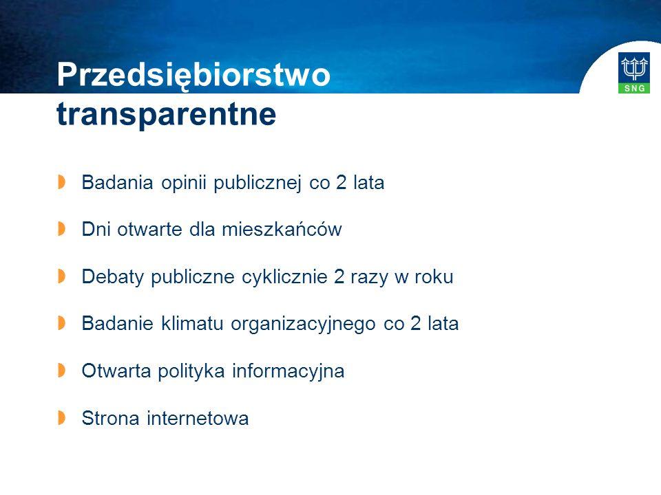 Przedsiębiorstwo transparentne  Badania opinii publicznej co 2 lata  Dni otwarte dla mieszkańców  Debaty publiczne cyklicznie 2 razy w roku  Badanie klimatu organizacyjnego co 2 lata  Otwarta polityka informacyjna  Strona internetowa