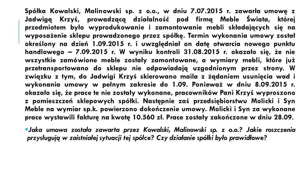 Spółka Kowalski, Malinowski sp. z o.o., w dniu 7.07.2015 r.