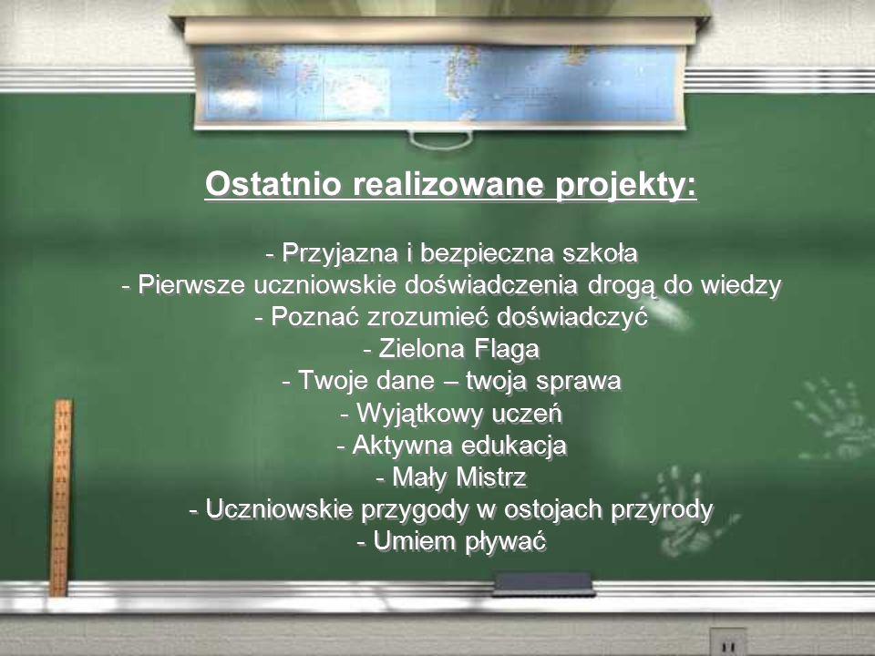 Ostatnio realizowane projekty: - Przyjazna i bezpieczna szkoła - Pierwsze uczniowskie doświadczenia drogą do wiedzy - Poznać zrozumieć doświadczyć - Zielona Flaga - Twoje dane – twoja sprawa - Wyjątkowy uczeń - Aktywna edukacja - Mały Mistrz - Uczniowskie przygody w ostojach przyrody - Umiem pływać