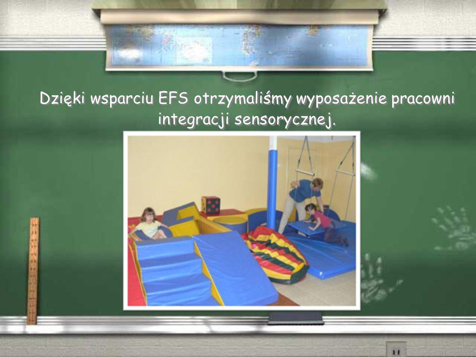 Dzięki wsparciu EFS otrzymaliśmy wyposażenie pracowni integracji sensorycznej.