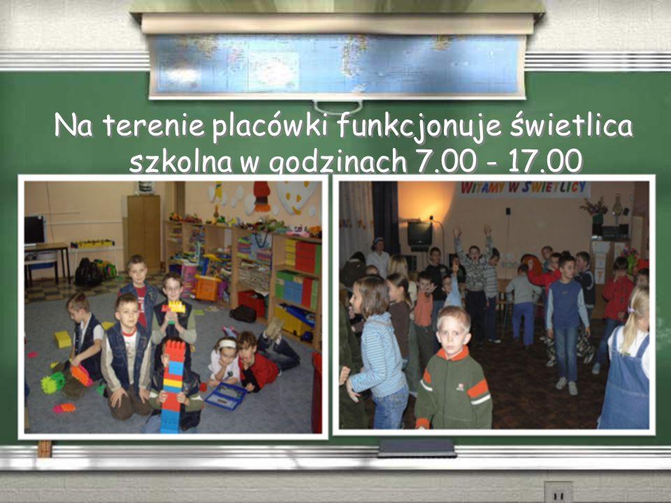 Na terenie placówki funkcjonuje świetlica szkolna w godzinach 7.00 - 17.00