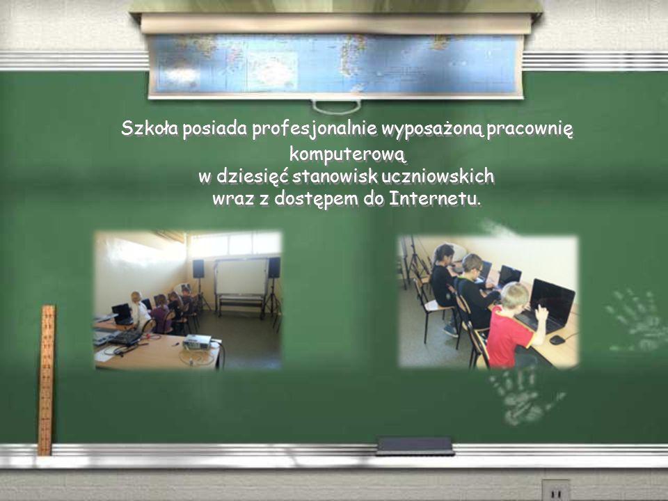 Szkoła posiada profesjonalnie wyposażoną pracownię komputerową w dziesięć stanowisk uczniowskich wraz z dostępem do Internetu.