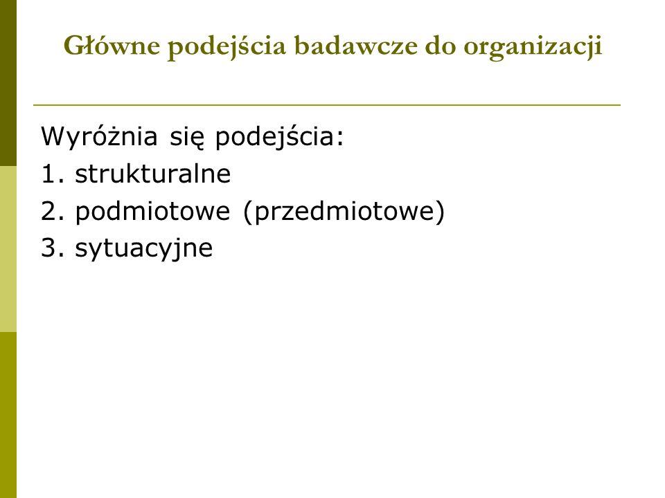 Główne podejścia badawcze do organizacji Wyróżnia się podejścia: 1. strukturalne 2. podmiotowe (przedmiotowe) 3. sytuacyjne