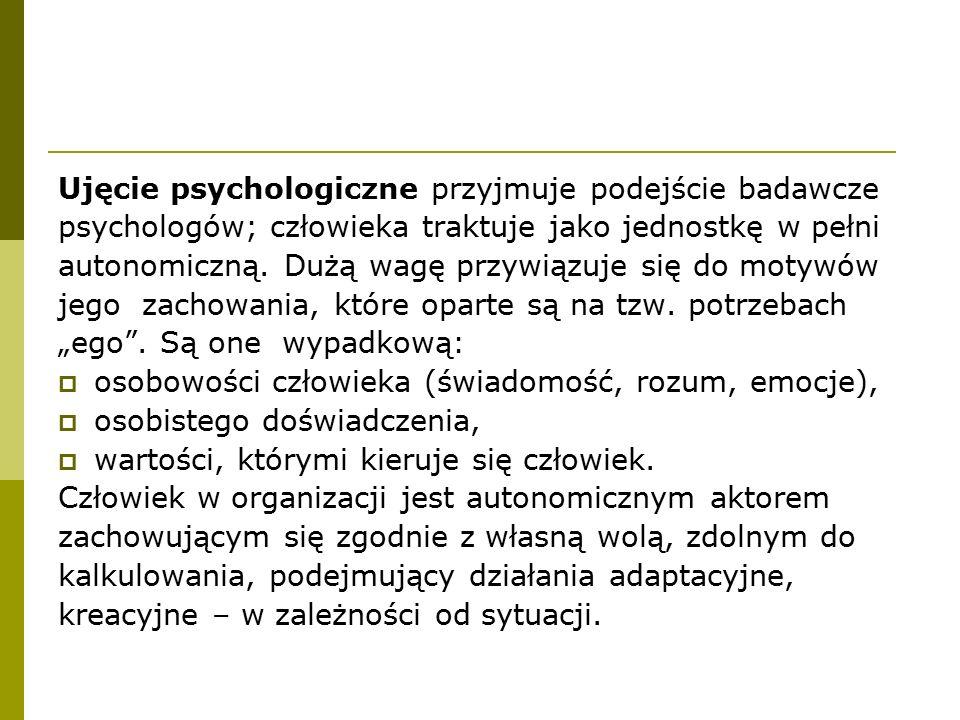 Ujęcie psychologiczne przyjmuje podejście badawcze psychologów; człowieka traktuje jako jednostkę w pełni autonomiczną. Dużą wagę przywiązuje się do m