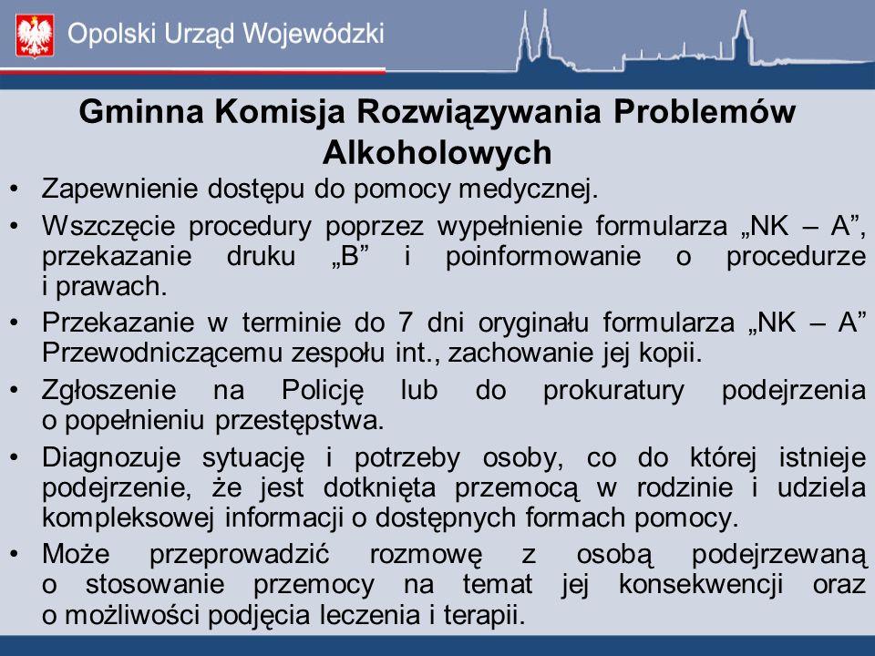 """Gminna Komisja Rozwiązywania Problemów Alkoholowych Zapewnienie dostępu do pomocy medycznej. Wszczęcie procedury poprzez wypełnienie formularza """"NK –"""