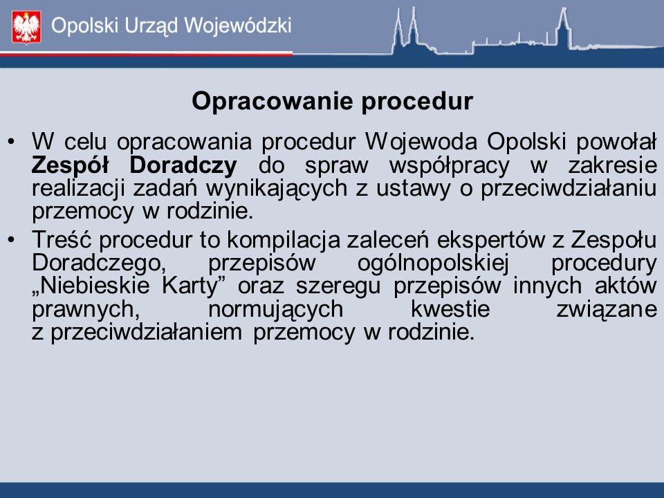 Opracowanie procedur W celu opracowania procedur Wojewoda Opolski powołał Zespół Doradczy do spraw współpracy w zakresie realizacji zadań wynikających