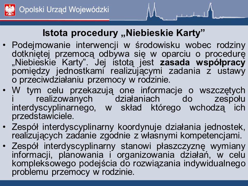 """Istota procedury """"Niebieskie Karty"""" Podejmowanie interwencji w środowisku wobec rodziny dotkniętej przemocą odbywa się w oparciu o procedurę """"Niebiesk"""