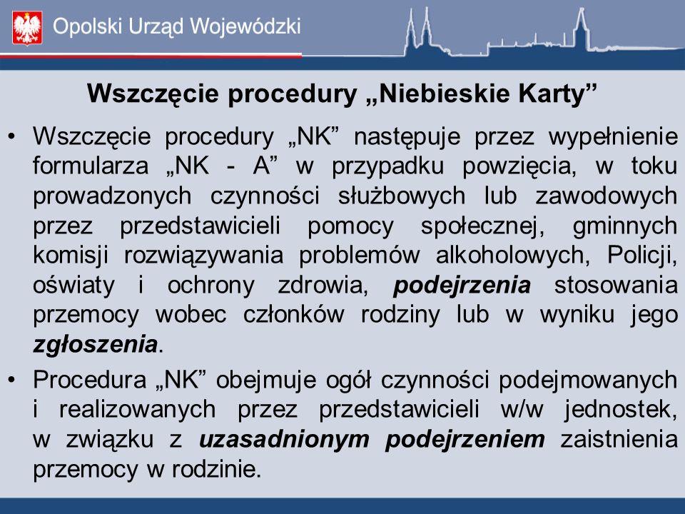 """Wszczęcie procedury """"Niebieskie Karty"""" Wszczęcie procedury """"NK"""" następuje przez wypełnienie formularza """"NK - A"""" w przypadku powzięcia, w toku prowadzo"""